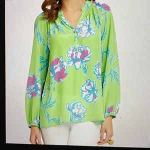 Lilly Pullitzer Elsa Blouse Green Tossed